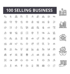 Selling business line icons signs set vector