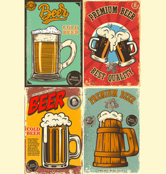 set beer pub posters design element for poster vector image