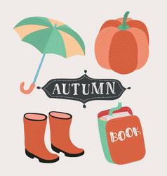 set cartoon autumn elements vector image