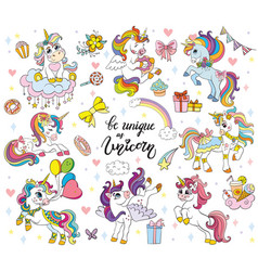 Set cute cartoon unicorn vector