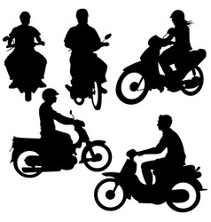 Set silhouettes riders on motorbikes vector