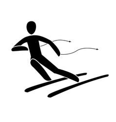 silhouette alpine downhill skier giant slalom vector image