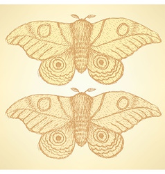 Sketch moth incect in vintage style vector