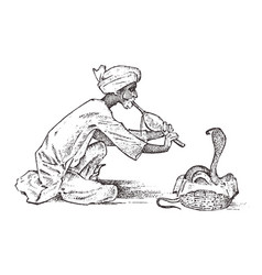 snake charmer man playing the flute for hypnotize vector image