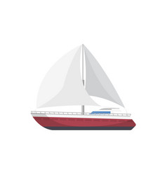 Sport yacht side view isolated icon vector
