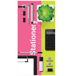 Stationery scene with office equipment vector