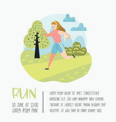 Summer outdoor sport activities woman running vector