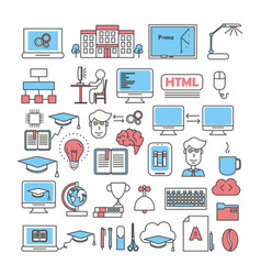Thin line art style design study icon set vector