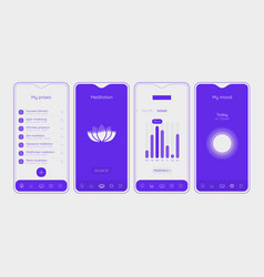 trendy responsive meditation and mood ui mockup vector image