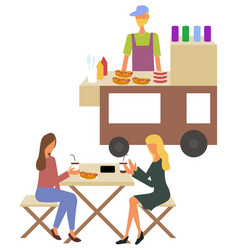 urban meal on cart fastfood and drink vector image