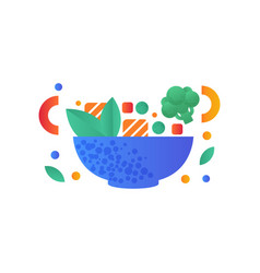 vegetables and pieces of salmon fish in a bowl vector image