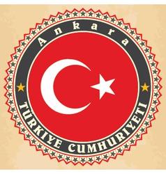 Vintage label cards turkey flag vector