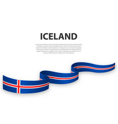 waving ribbon or banner with flag iceland vector image