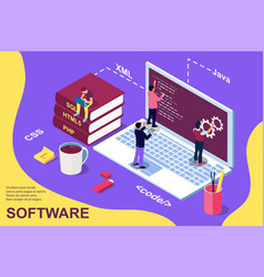 web development concept programming and coding vector image