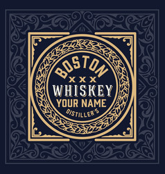 whiskey label vintage design retro vector image