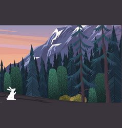 white hare on edge coniferous deep gloomy vector image