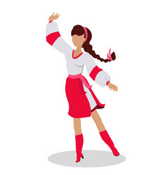 Woman in ukrainian national clothes dance vector