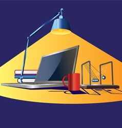 Workplace in light vector