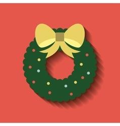 wreath leafs christmas decoration vector image