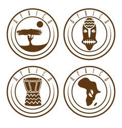 African ethnic culture music and nature labels set vector