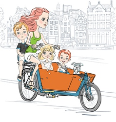 Beautiful girl carries child on the bike in Amster vector image vector image