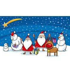 christmas cartoon characters vector image
