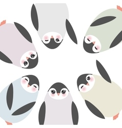 Funny penguins on white background card template vector image vector image