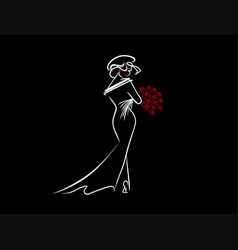girl with red flowers vector image