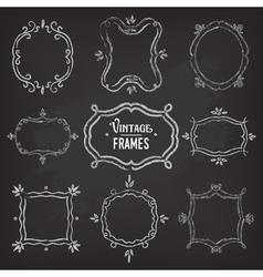 Set of 9 cute vintage chalk frames vector image vector image