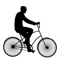 The man in black glasses riding a bike flat style vector image