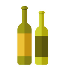 two green wine bottles vector image
