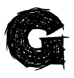 G - hand drawn character sketch font vector image