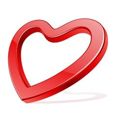 red shiny glass heart shape vector image