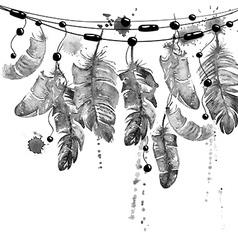 Watercolor hanging bird feathers vector image