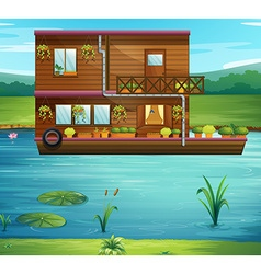 Boat house floating on the river vector image