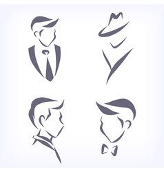 Collection of symbolic men faces vector image vector image