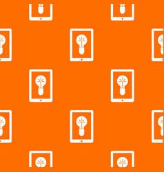 idea lamp on gadget screen pattern seamless vector image vector image