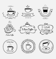 set of vintage retro coffee labels vector image vector image