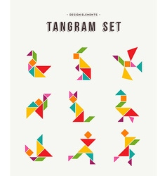 Tangram set creative art of colorful animal shapes vector image
