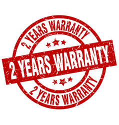 2 years warranty round red grunge stamp vector image vector image