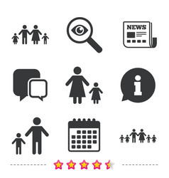 family with two children sign parents and kids vector image vector image