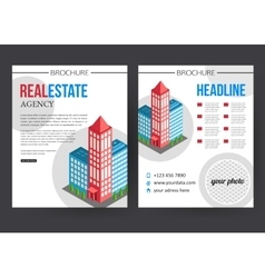 Flat isometric city real estate brochure template vector image