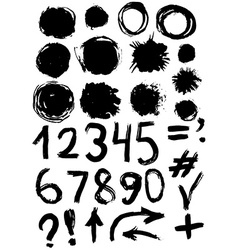 grunge set of paint stains and numbers grungy vector image vector image