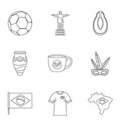 Landmarks of brazil icon set outline style vector