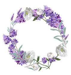 lavender and peony round frame template vector image vector image