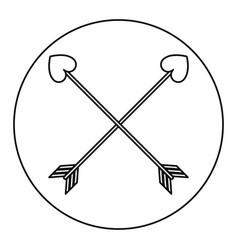 love crossed arrow element decoration line vector image