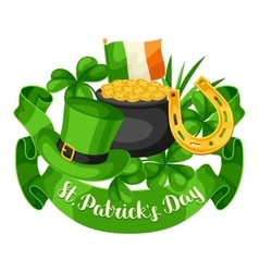 Saint Patricks Day greeting card Flag Ireland vector image vector image