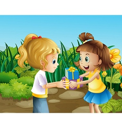 Two friends exchanging gifts outdoor vector image vector image