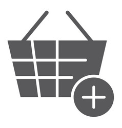 add to bucket glyph icon internet and shop vector image