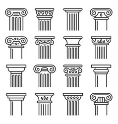 Ancient columns icon set line style vector
